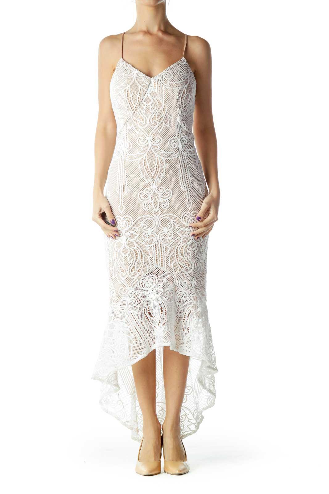 White Crocheted Slip Dress Front