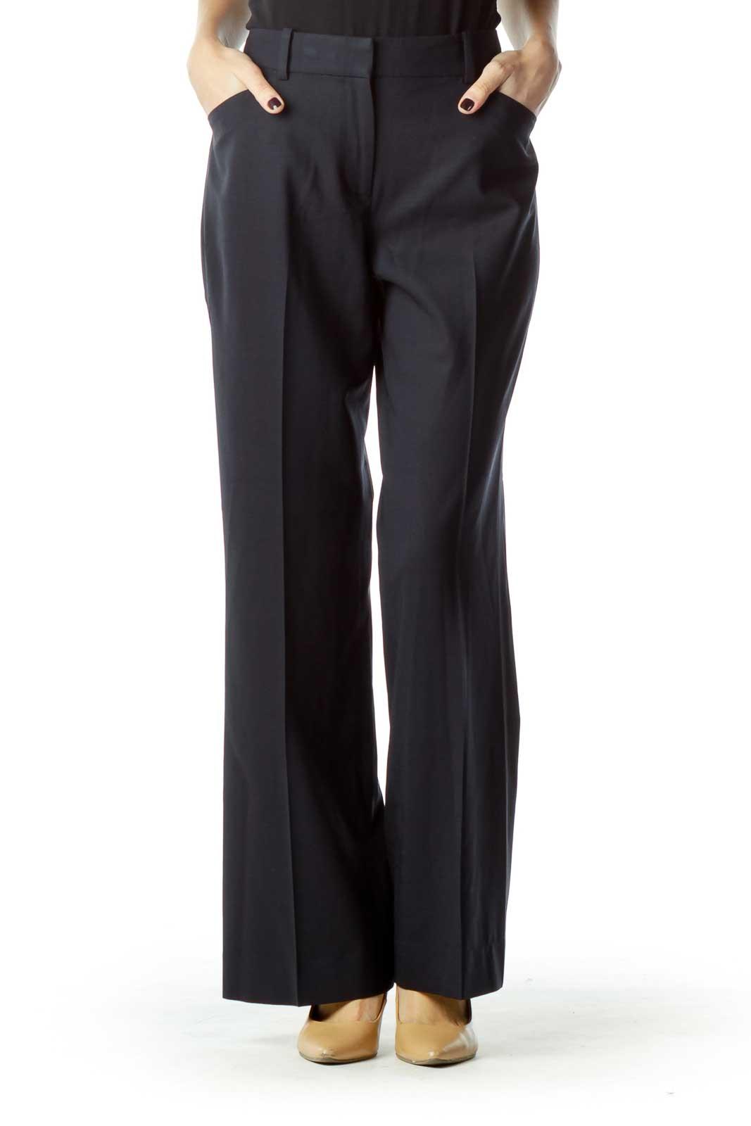 Navy Wool Straight Leg Slacks Front