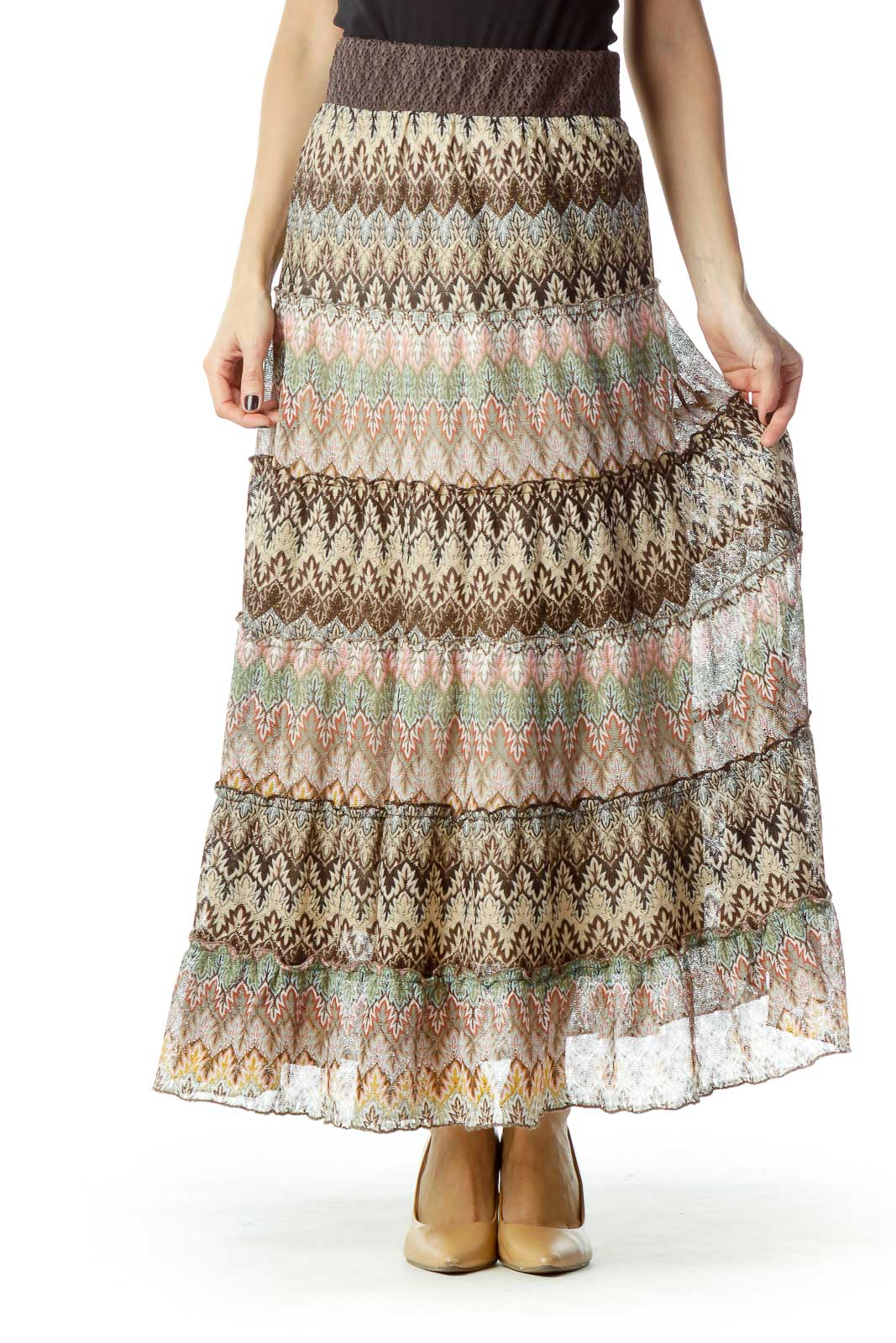 Brown Printed Maxi Skirt  Front