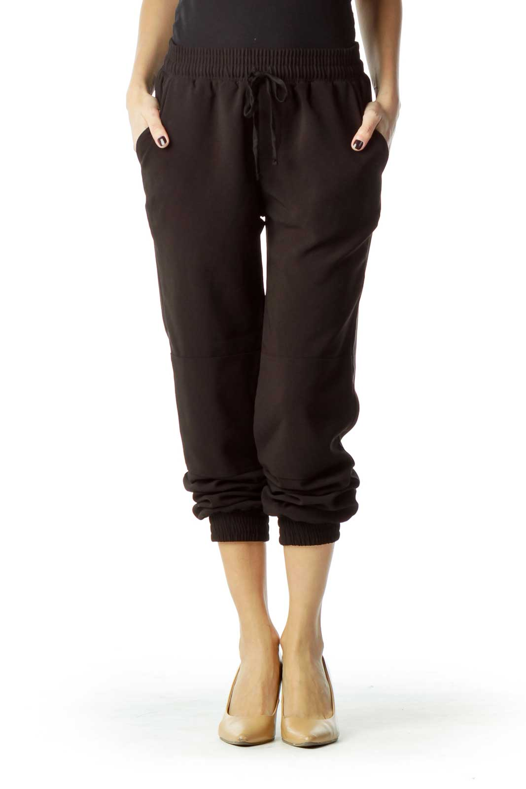 Black Soft Tapered Pant Front