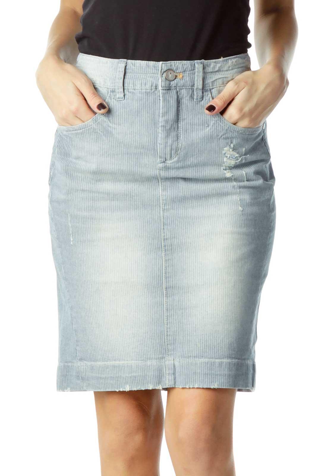 Blue Striped Denim Skirt Front
