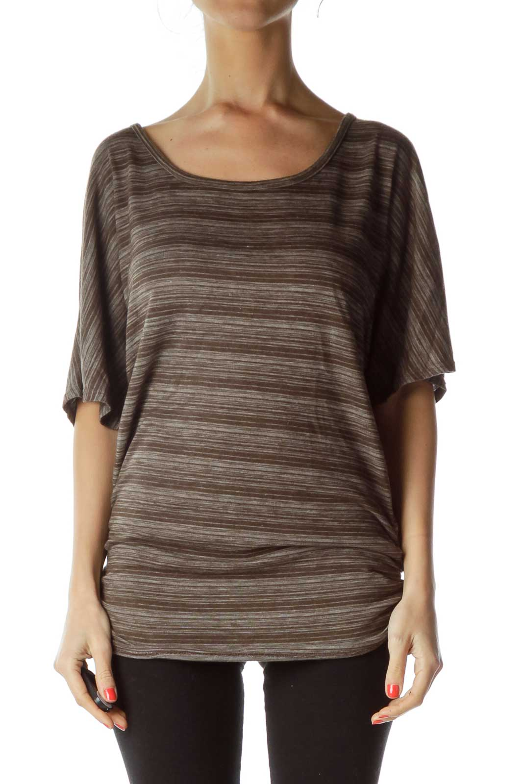 Brown Striped Jersey Top Front