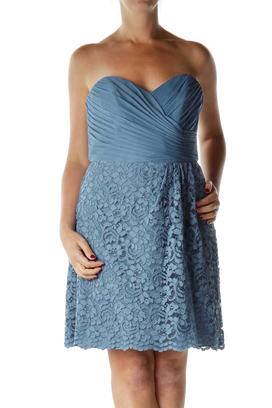 Blue Strapless Lace Cocktail Dress Front