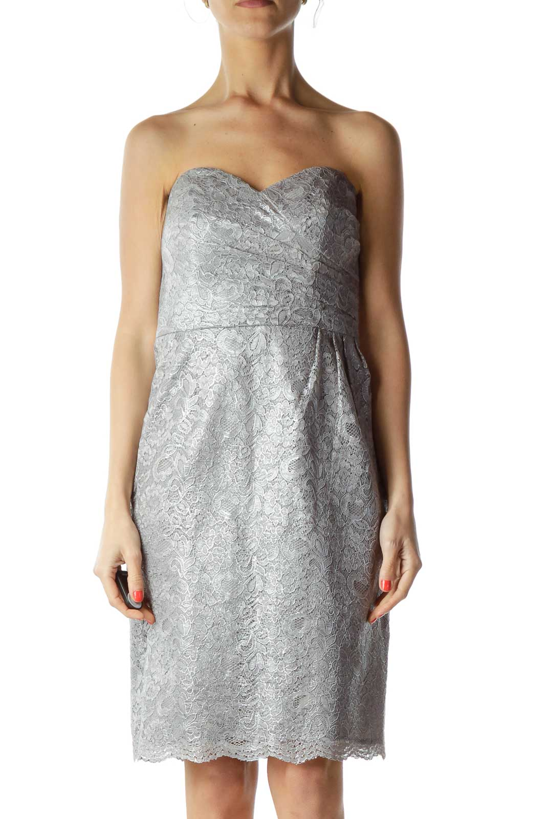 Gray Silver Metallic Lace Strapless Cocktail Dress Front