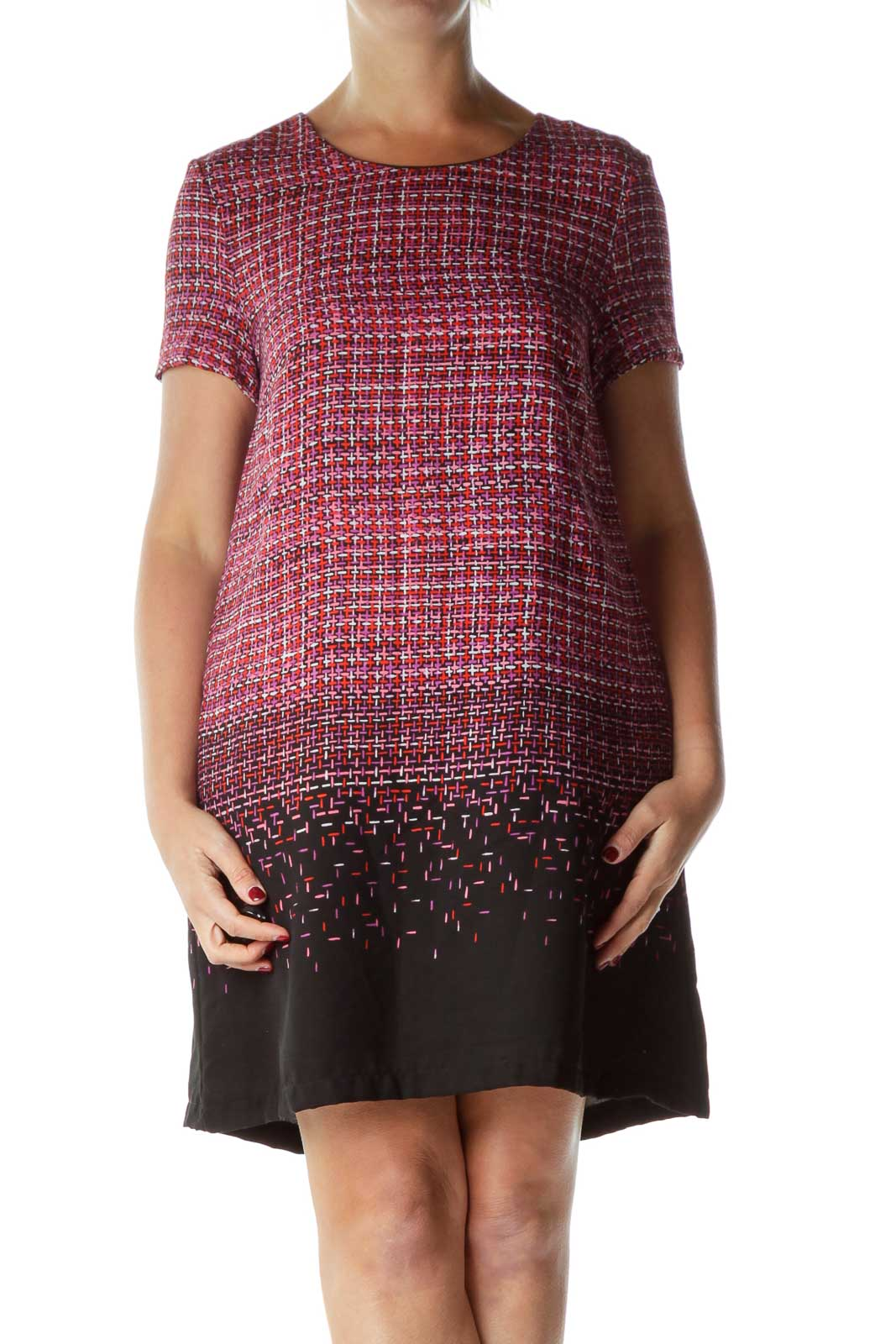 Red Print Short Sleeve Shift Dress Front