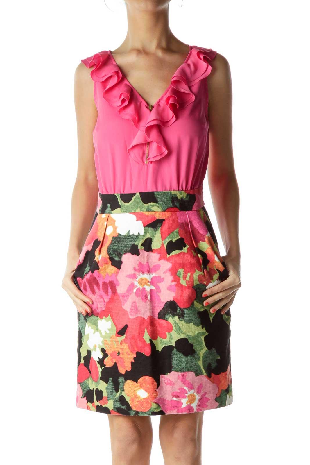 Pink Ruffle Sleeveless Sheath Dress Front