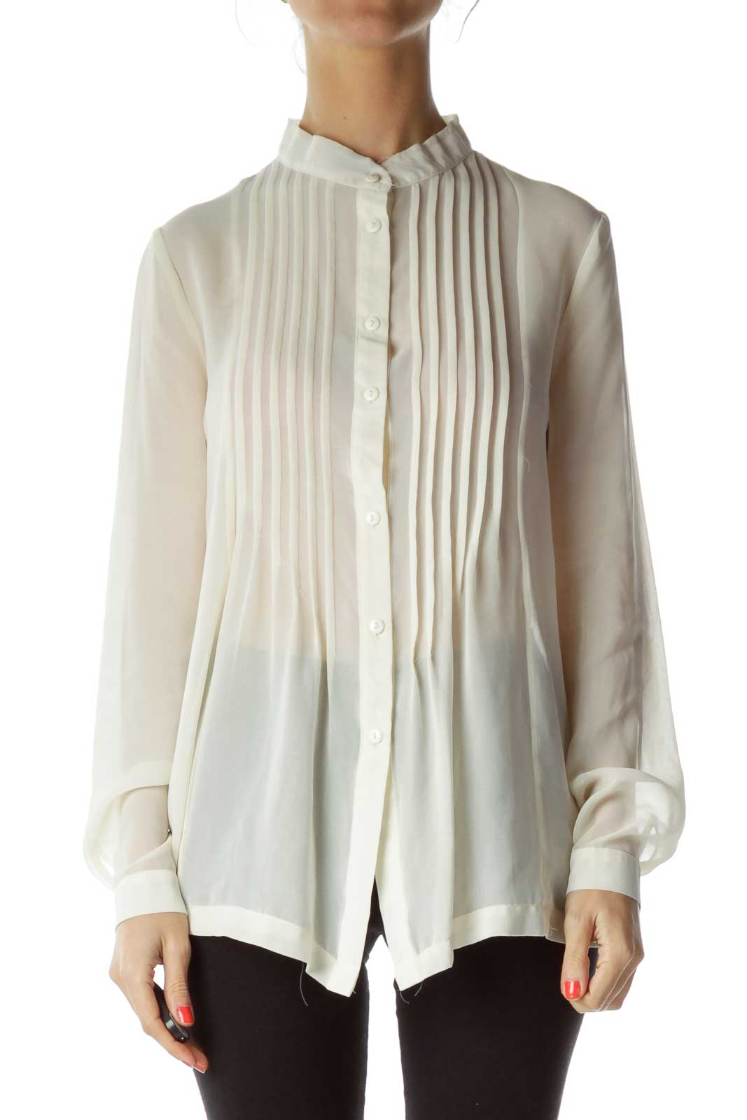 Cream Sheer Blouse Front
