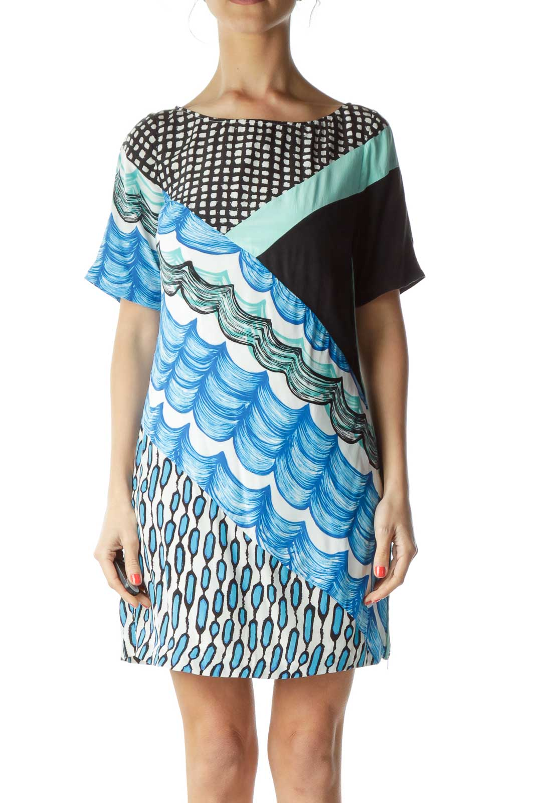 Blue Black Zippered Day Dress Front