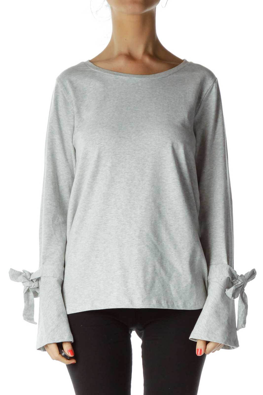 Gray Long Sleeve Top Front