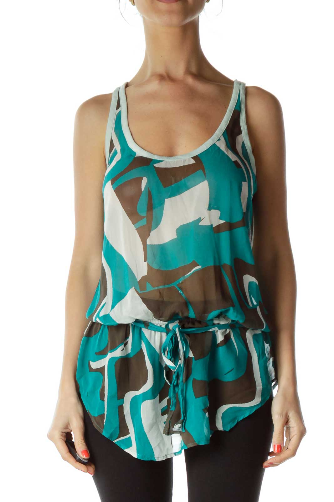 Green Brown Racerback Sleeveless Blouse Front