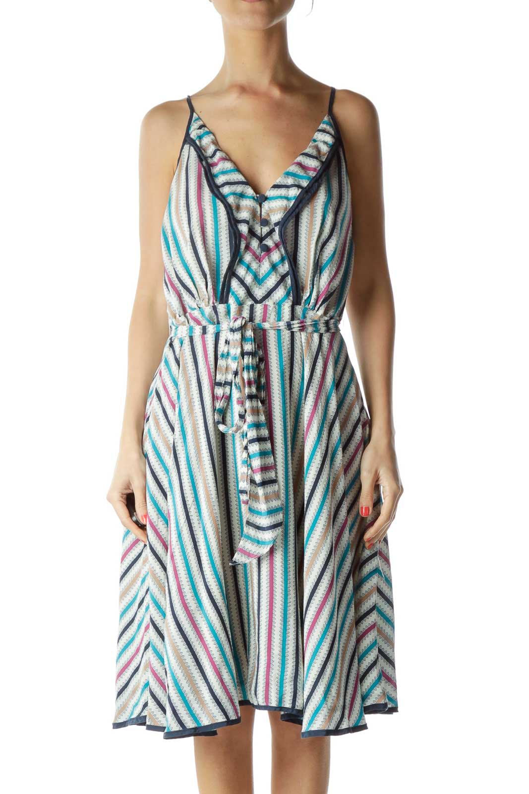 Multicolor Print Spaghetti Strap Silk Dress Front