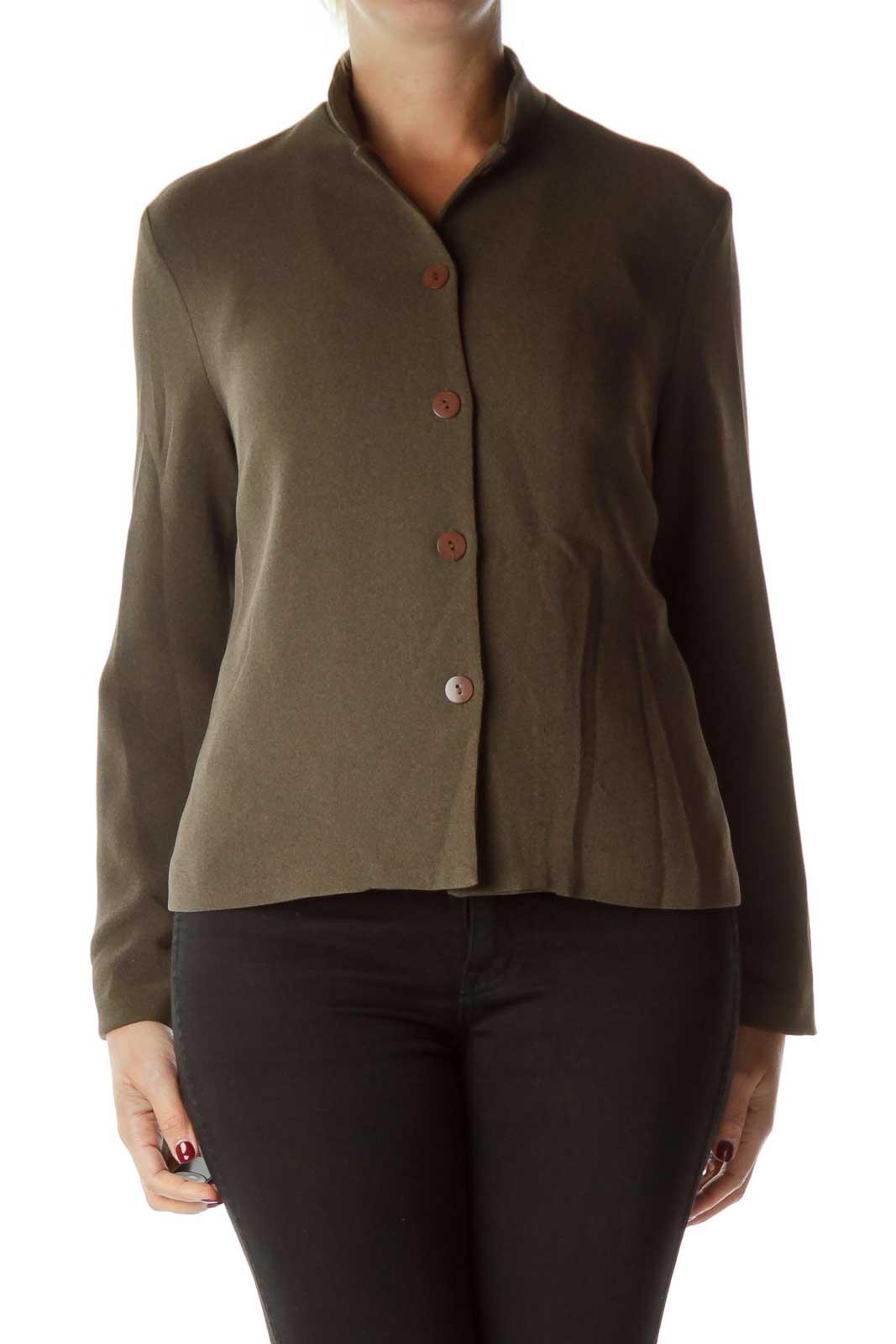 Brown Mottled Buttoned Blazer Front