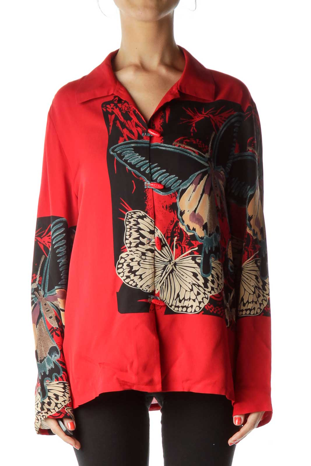 Red Printed Silk Blouse Front