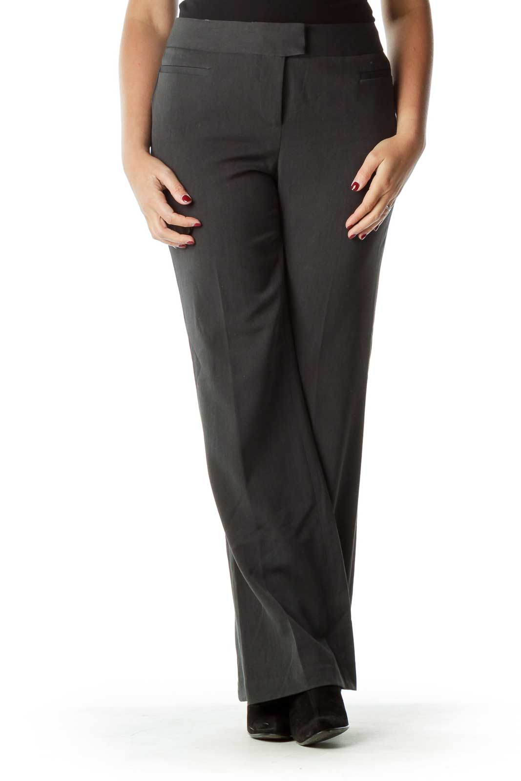 Gray Wide Leg Work Pant Front