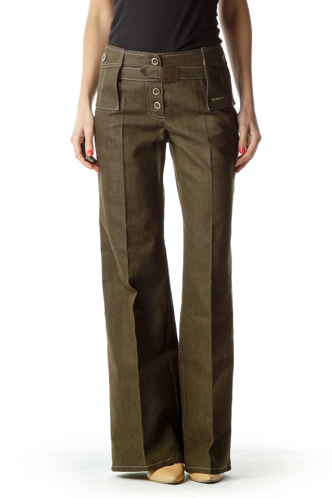Green Buttoned Wide Leg Pant Front