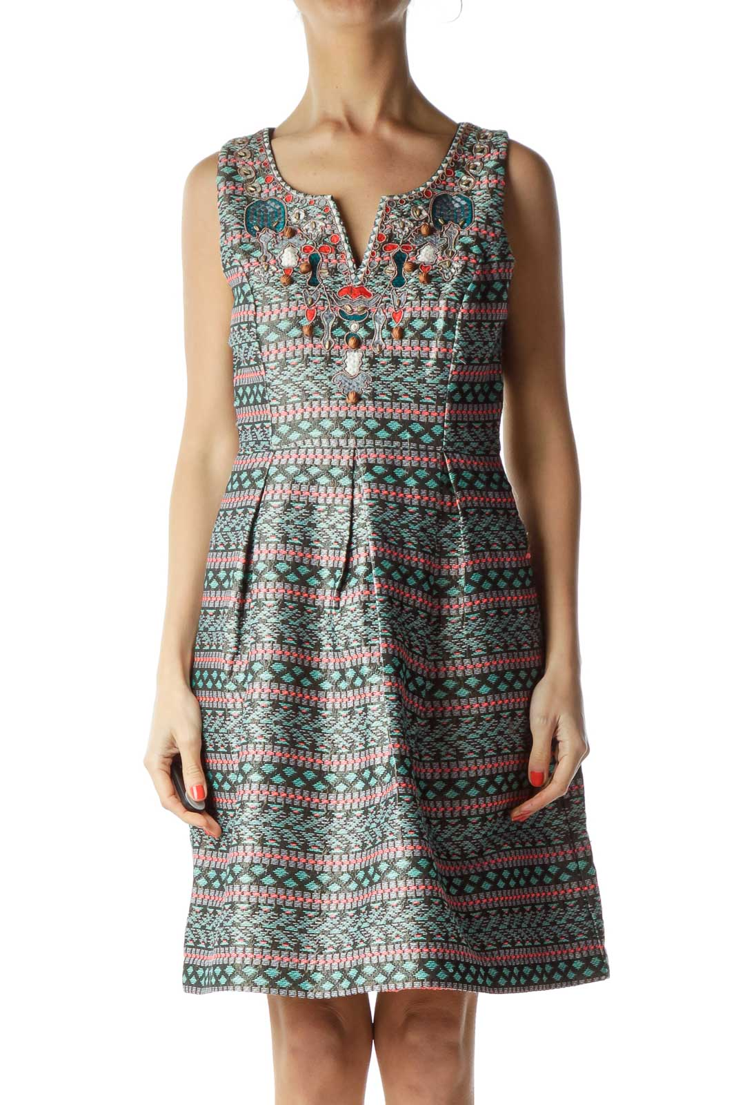 Multicolor Print Embroidered A-Line Dress Front