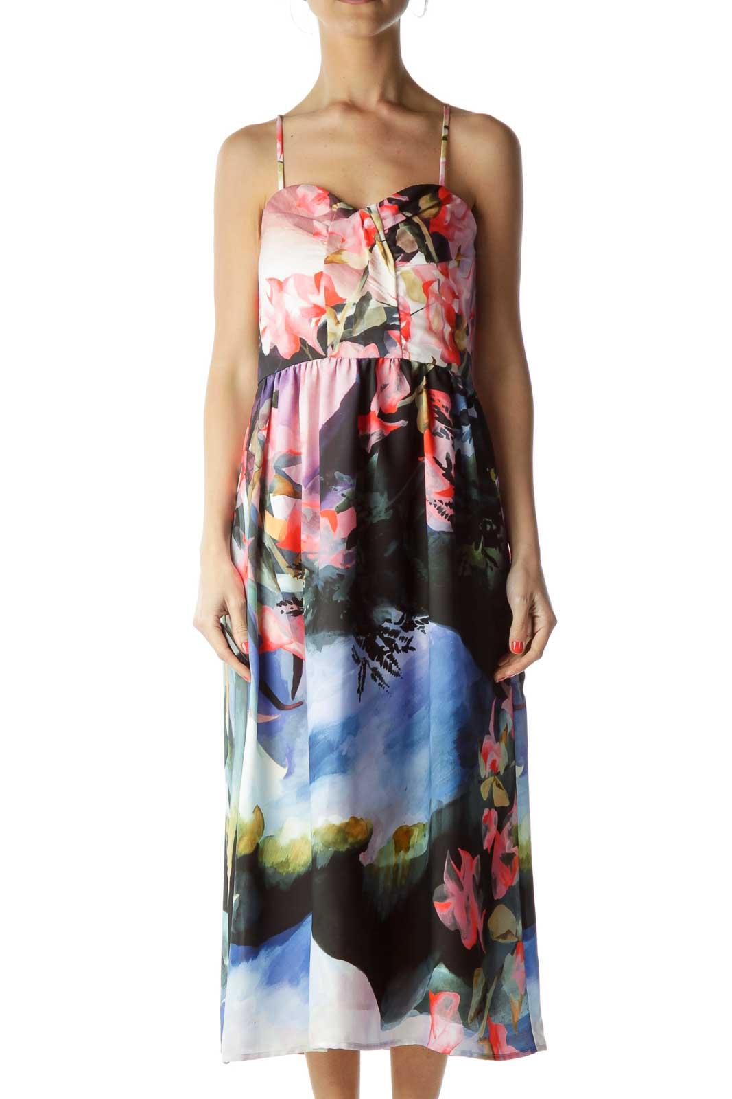 Multicolor Floral Print Cocktail Dress Front