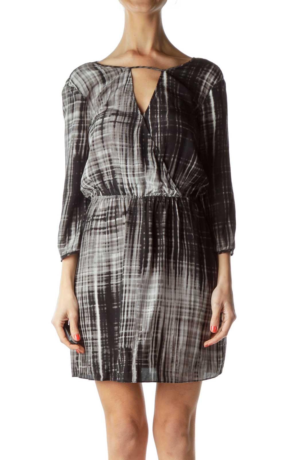 Gray Black Tie Dye Day Dress Front