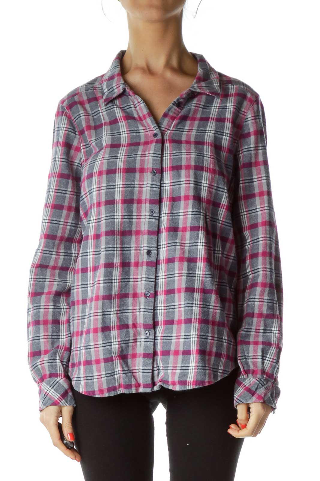 Pink Checkered Flannel Shirt Front