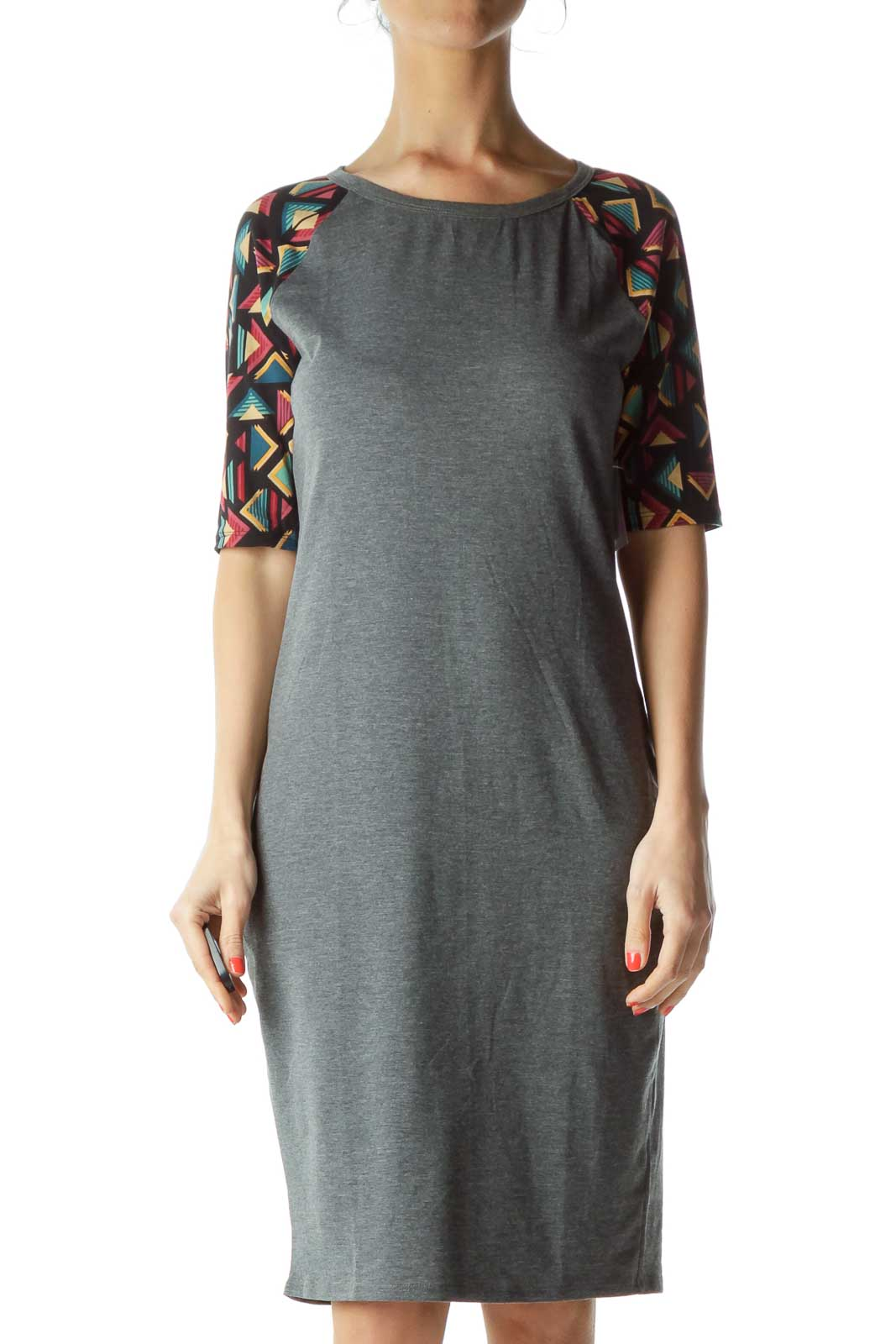Gray Tribal Print Sleeve Jersey Dress Front
