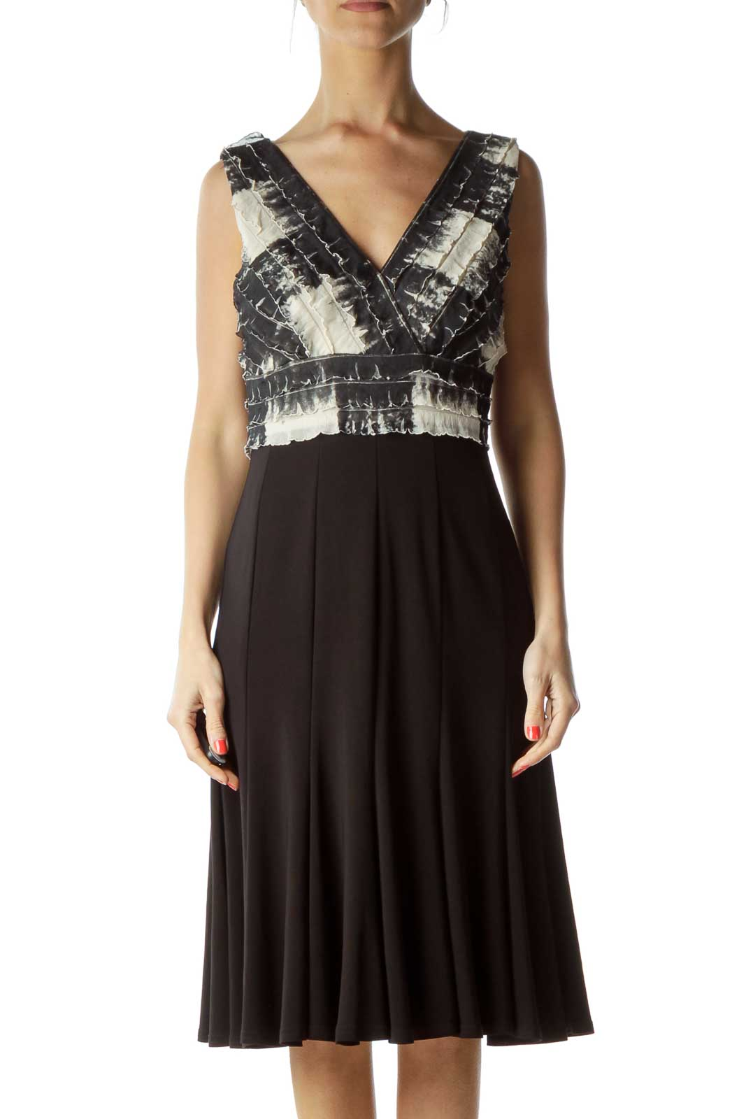 Black Beige Tie Die Pleated Cocktail Dress Front