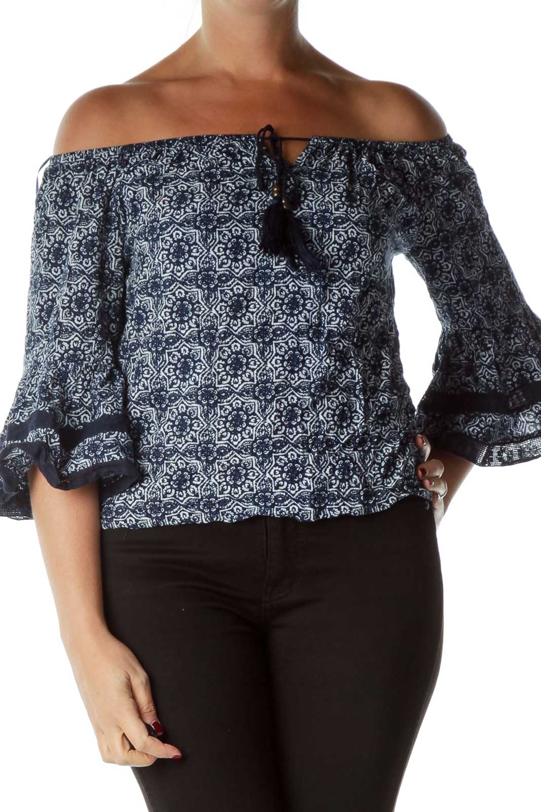 Blue White Printed Bell Sleeve Blouse Front