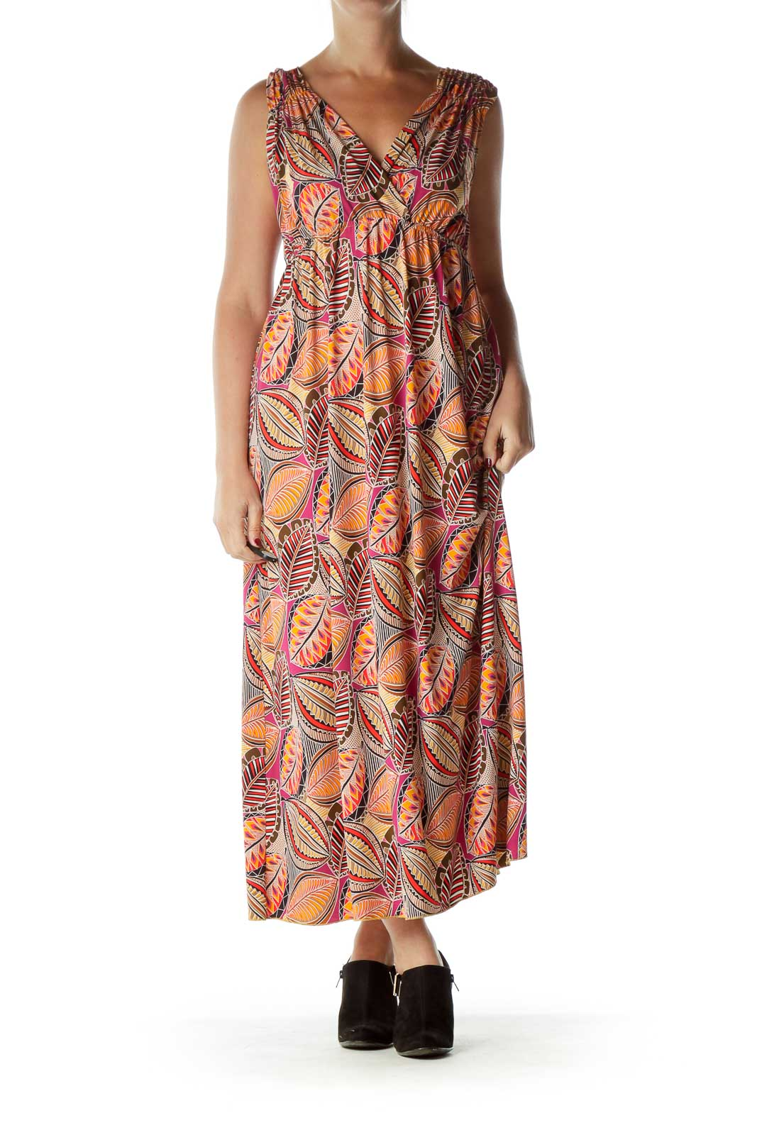 Orange Print Empire Waist Maxi Dress Front