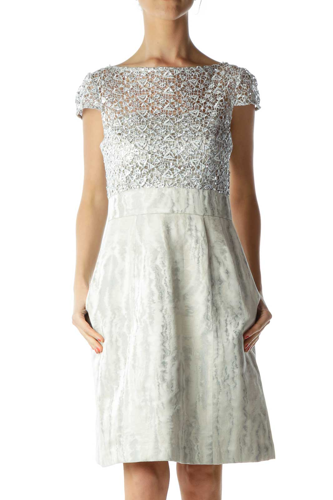 Cream Silver Sequined Metallic Cocktail Dress Front
