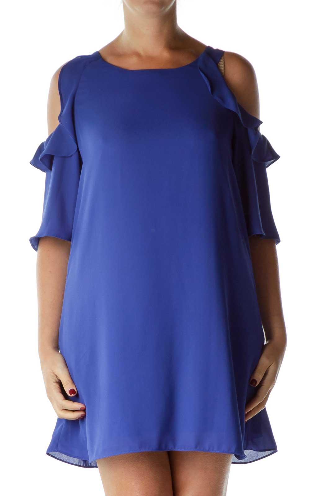 Blue Off-Shoulder Shift Dress Front