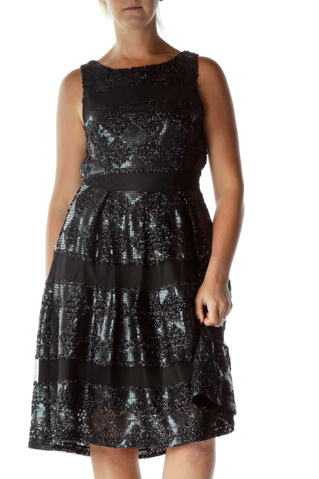 Black Sequin Pleated Dress Front
