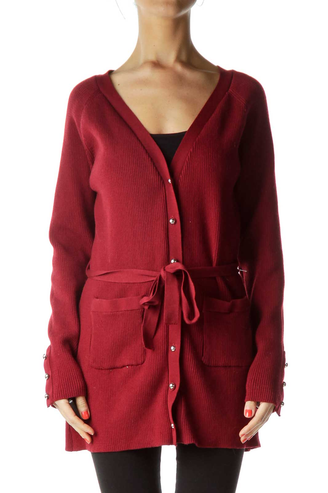 Red Ribbed Knit Cardigan Front