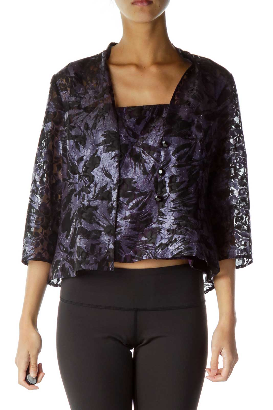 Purple Black Lace Shimmer Tank Top w/ Cropped Jacket Front
