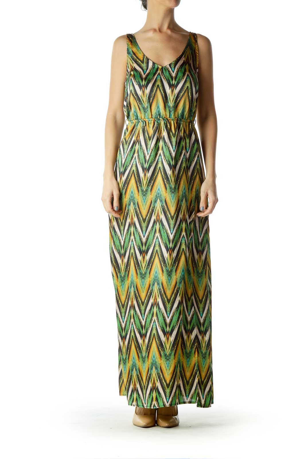 Green Beige Zig Zag Print Maxi Dress Front