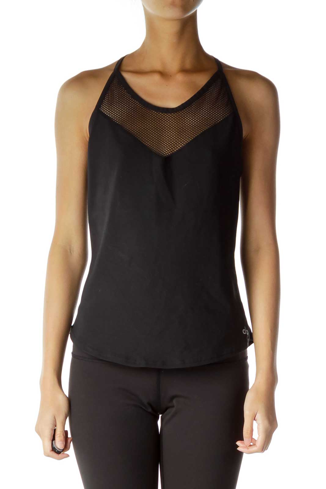 Black Fishnet Fitted Sports Top  Front