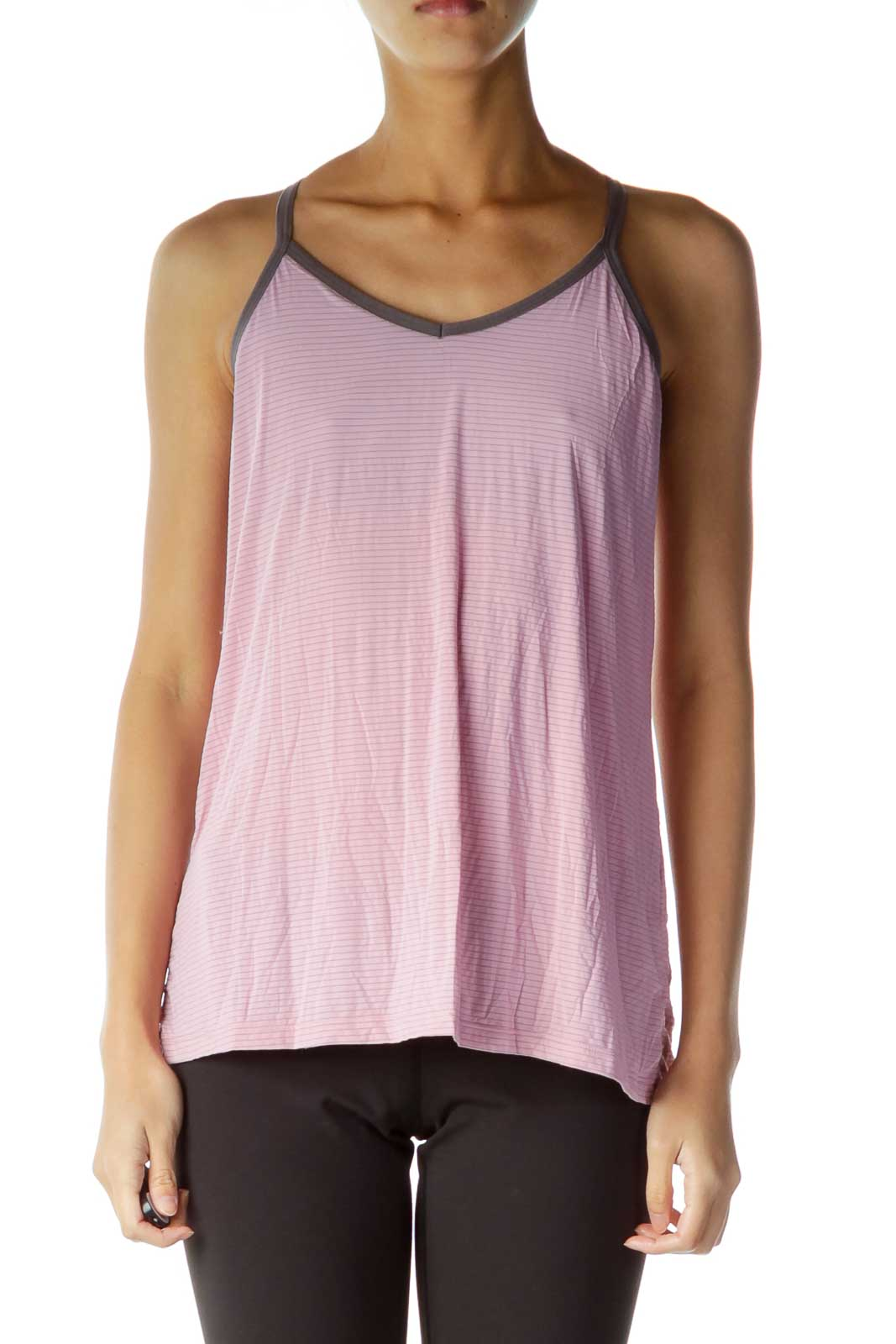 Pink Gray Loose Striped Yoga Top Front