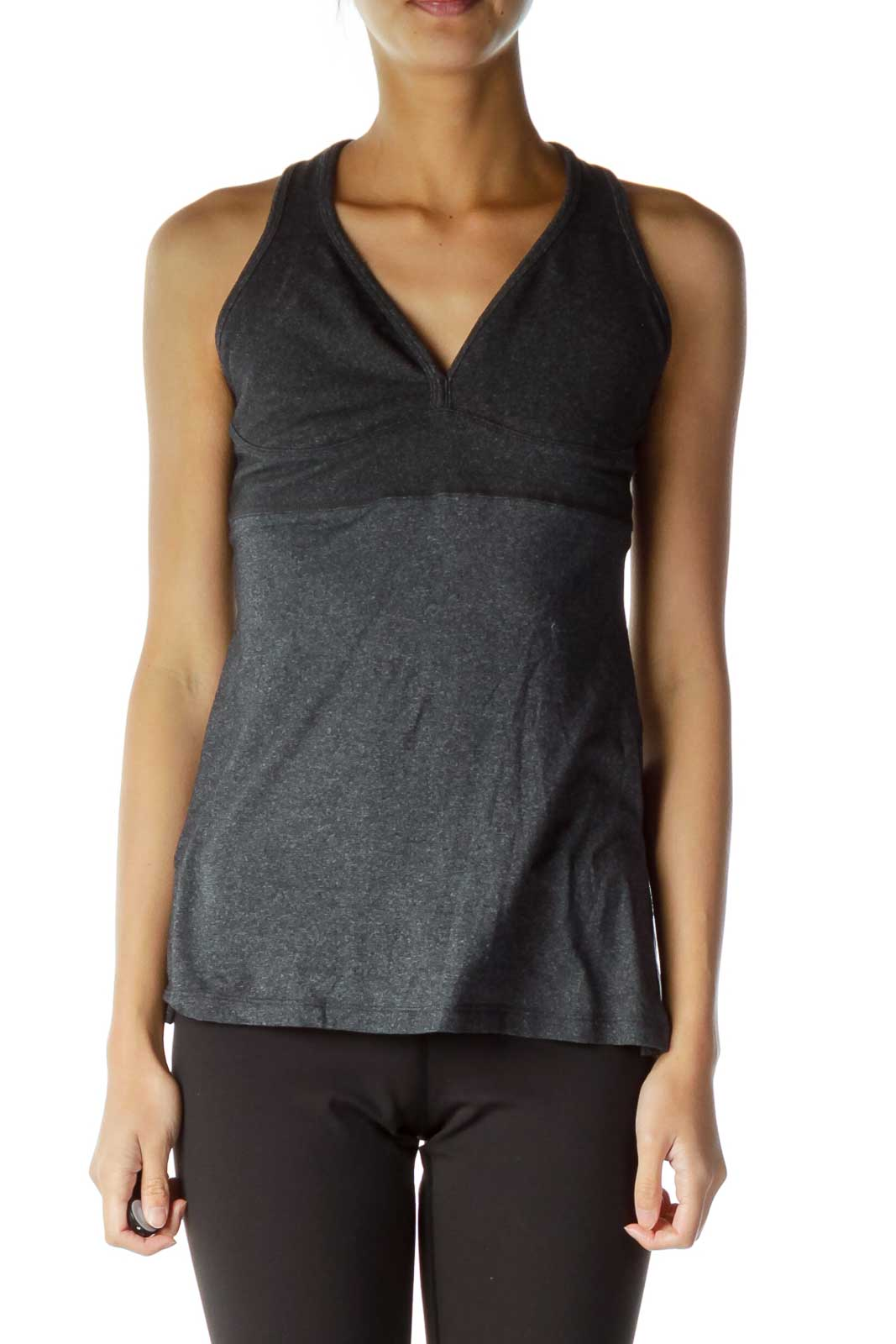 Grey Fitted Yoga Top Front