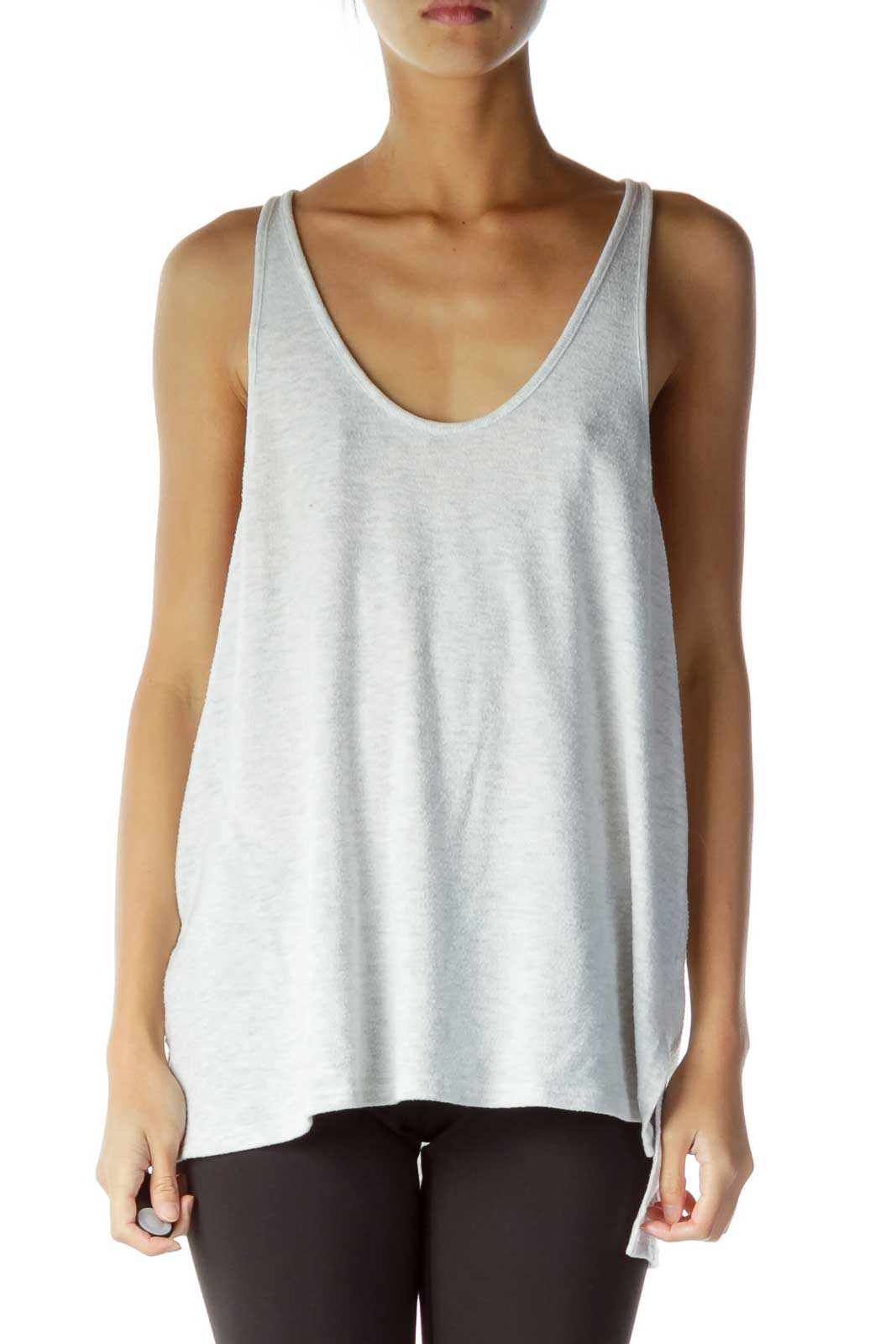Gray Knitted Tank Top Front