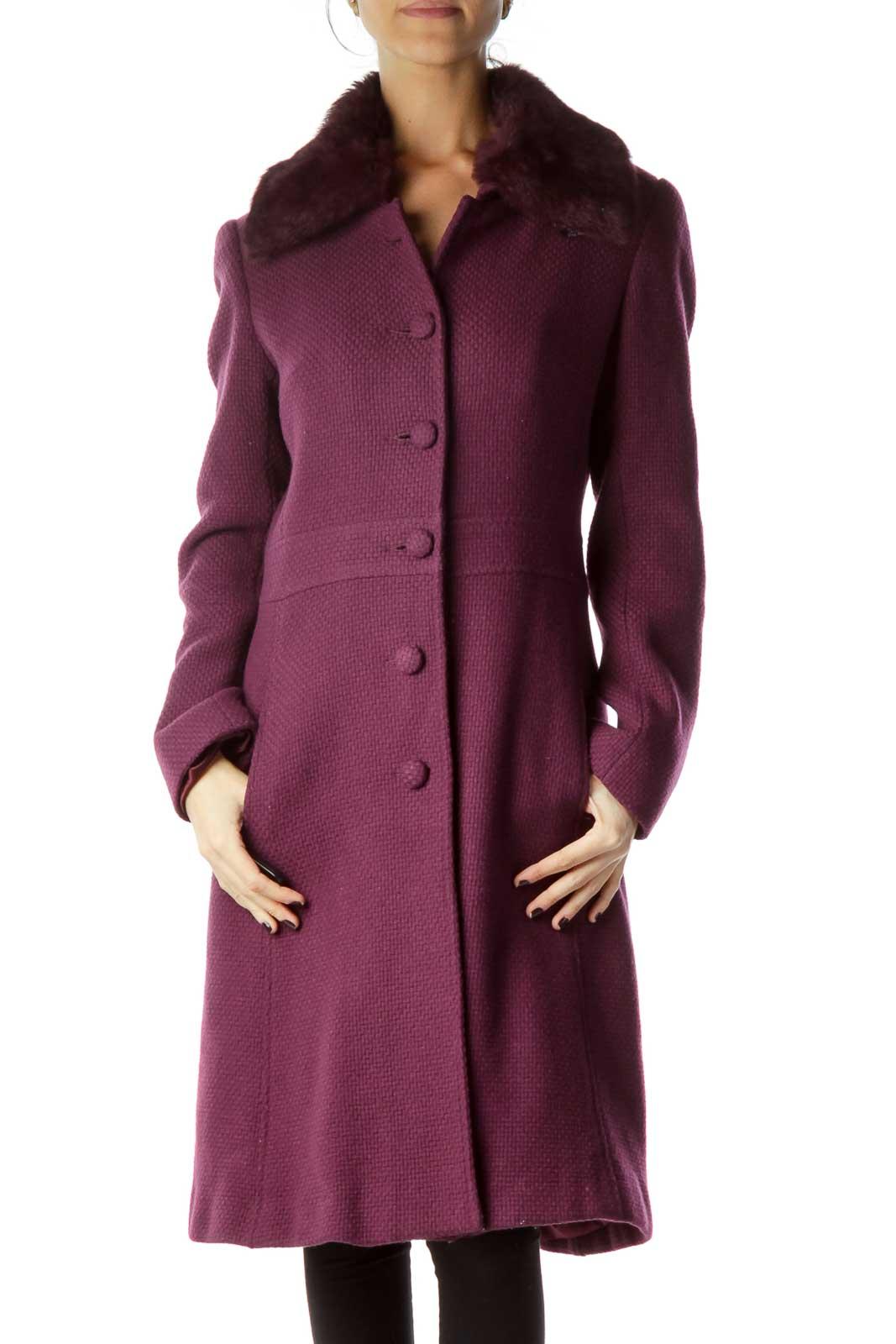 Purple Faux-Fur Collar Single Breast Coat Front
