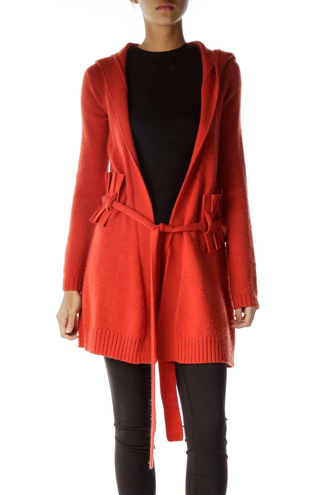 Orange Belted Hooded Cardigan Front