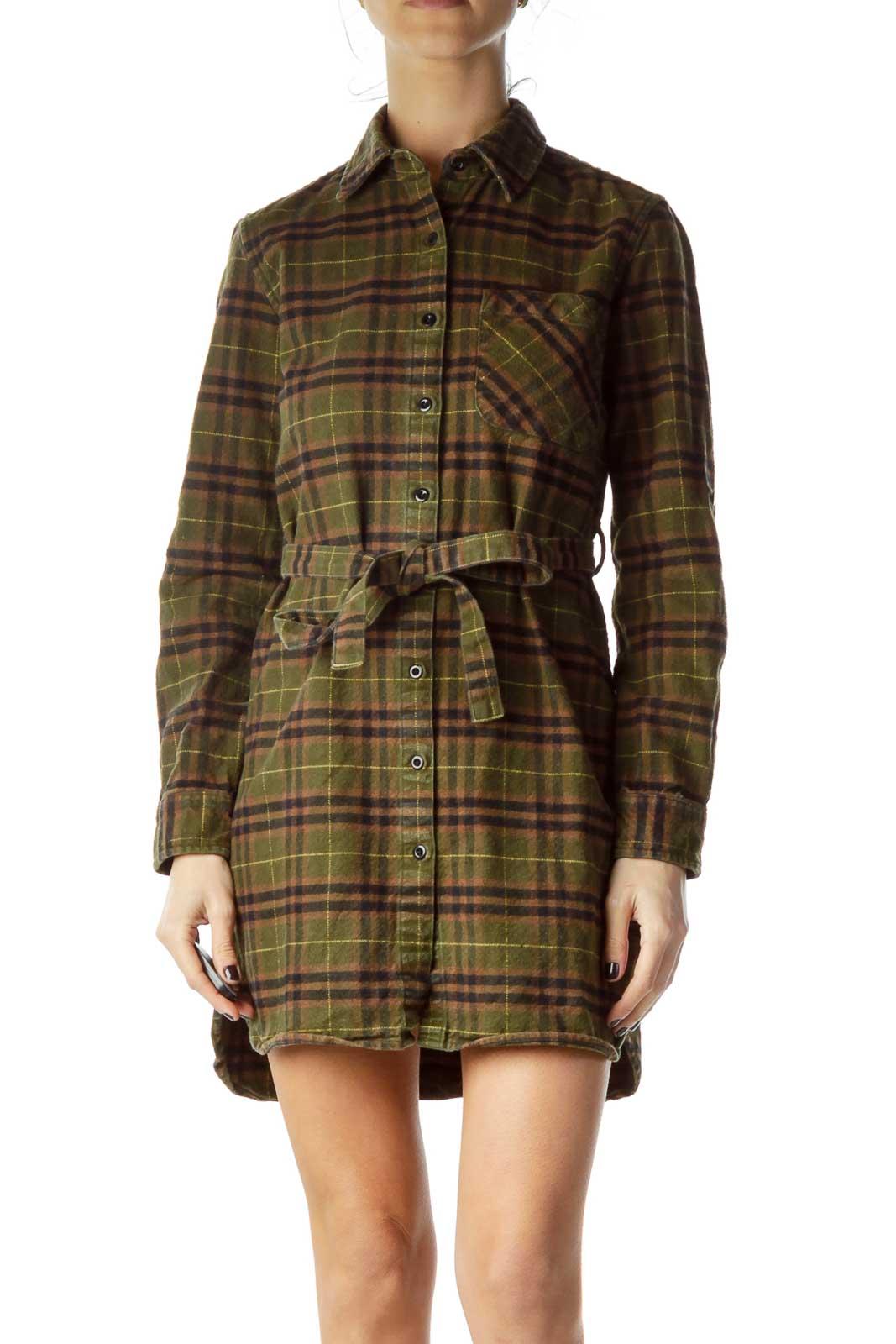 Green Brown Plaid Shirt Dress Front