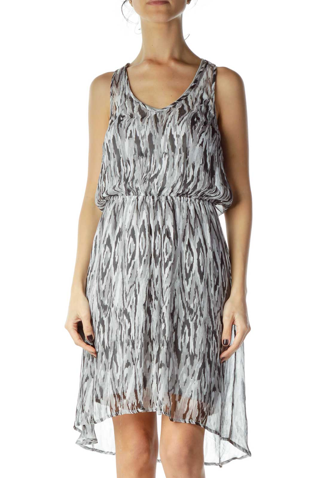 Gray Black Print Sheer Stretchy A-line Dress Front
