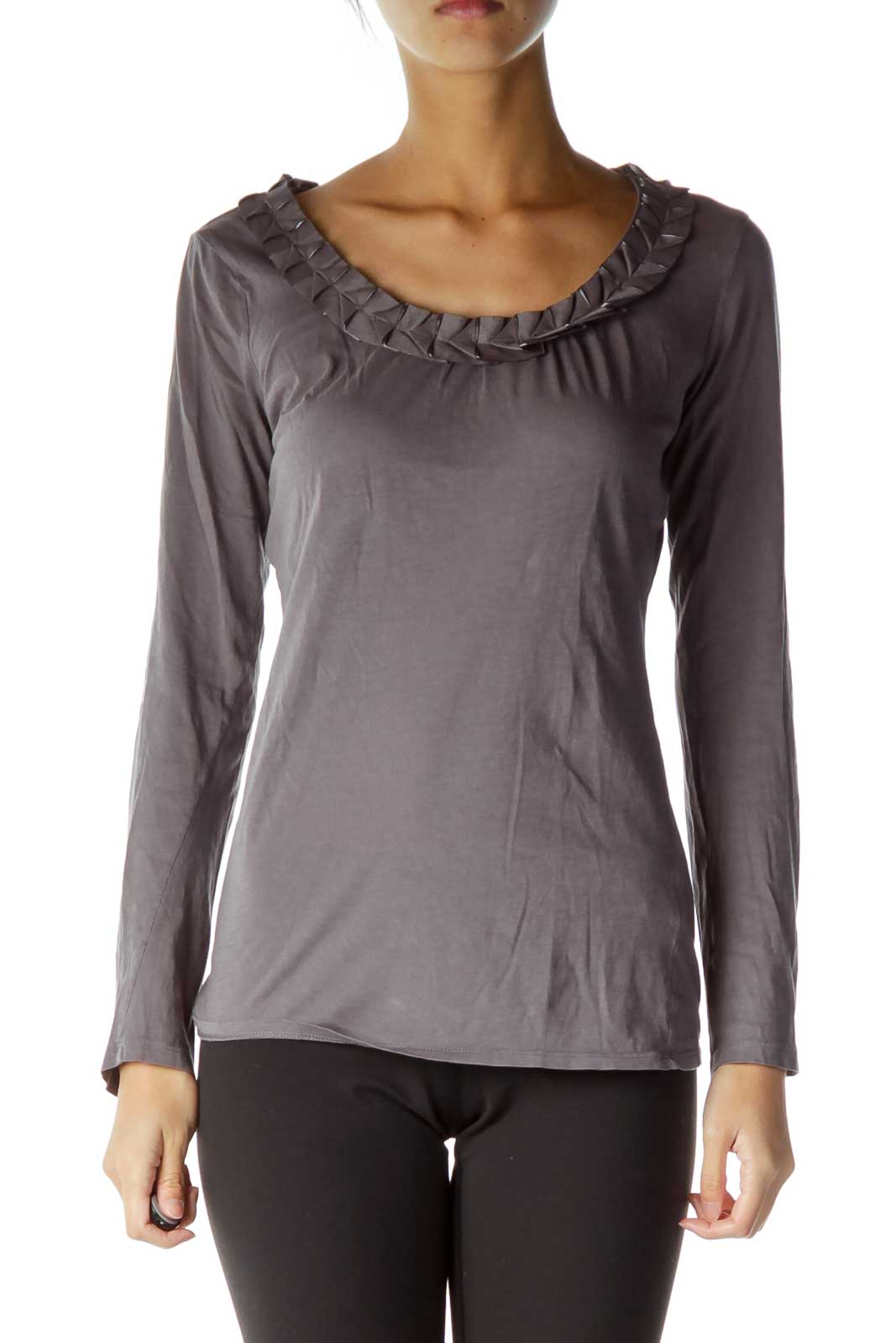 Gray Detailed Folded Neckline T-Shirt Front