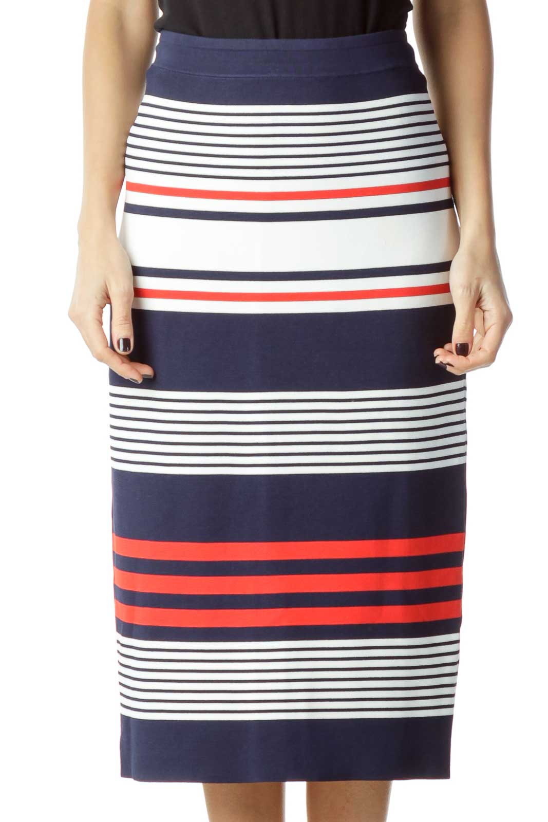 Navy Red Striped Pencil Skirt Front