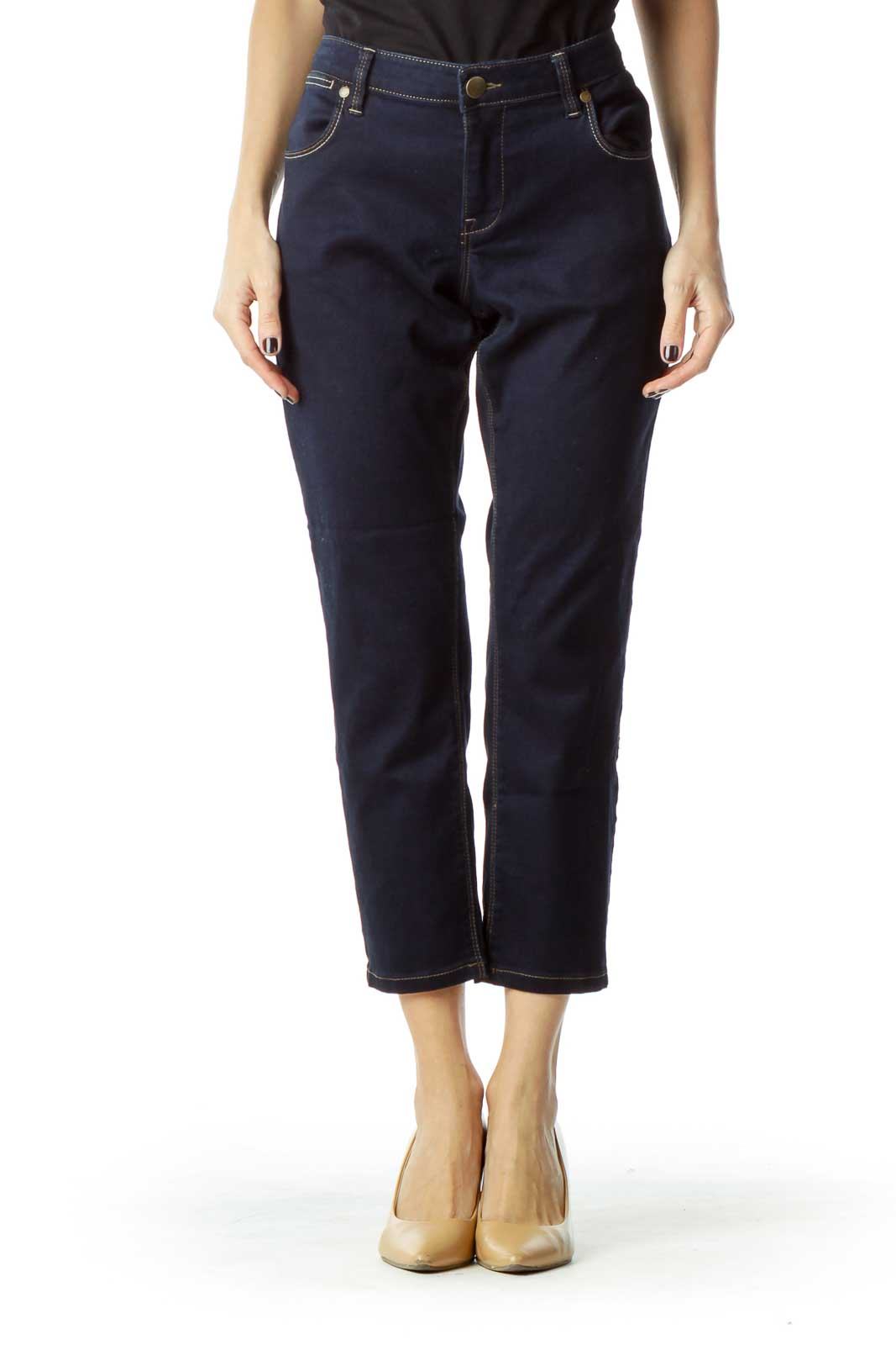 Dark Blue Cropped Jeans Front
