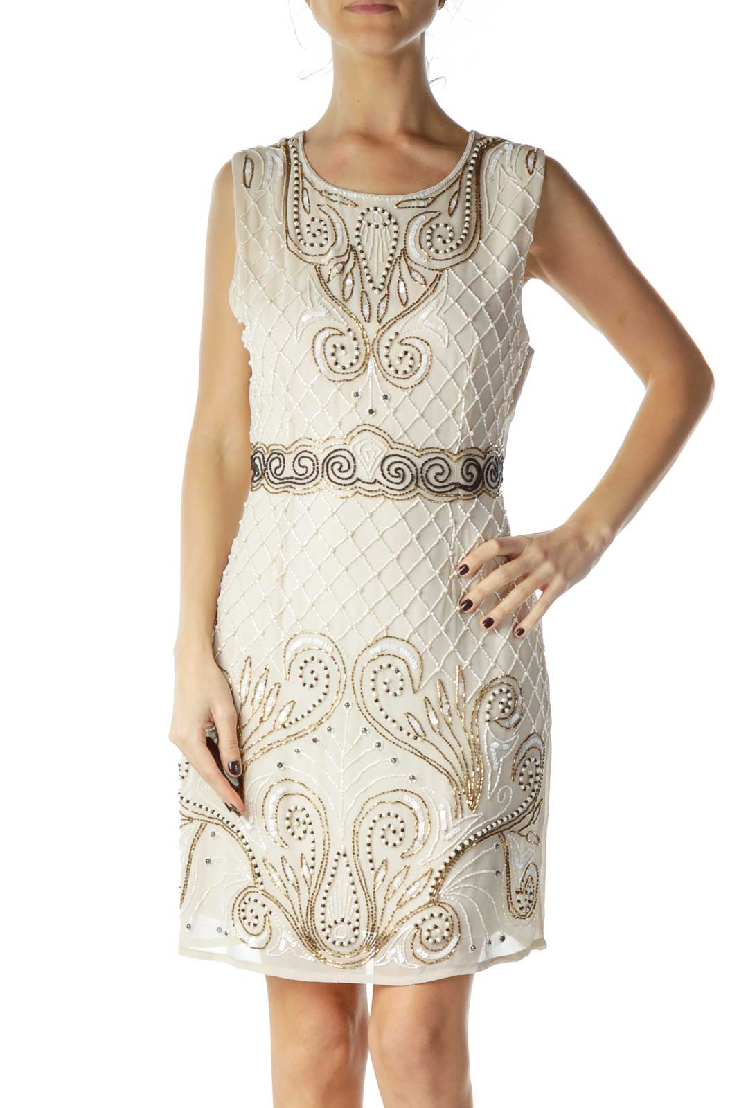 20's Beige Beaded Cocktail Dress Front