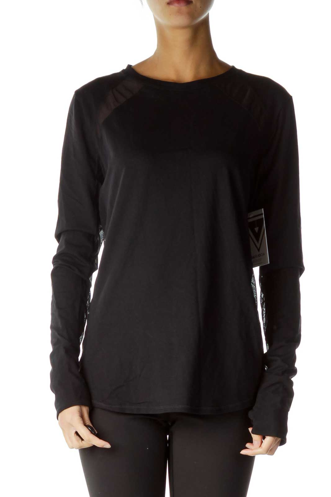 Black See-through Cut Out Sweatshirt Front