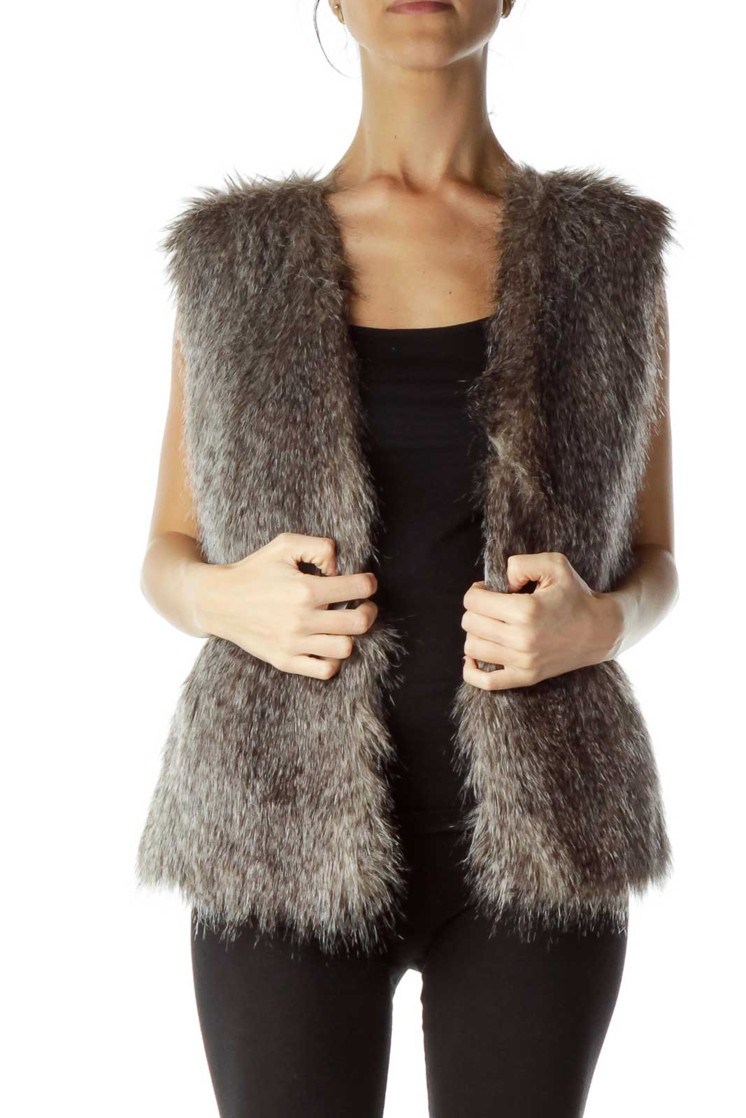 Gray Faux-Fur Vest Front