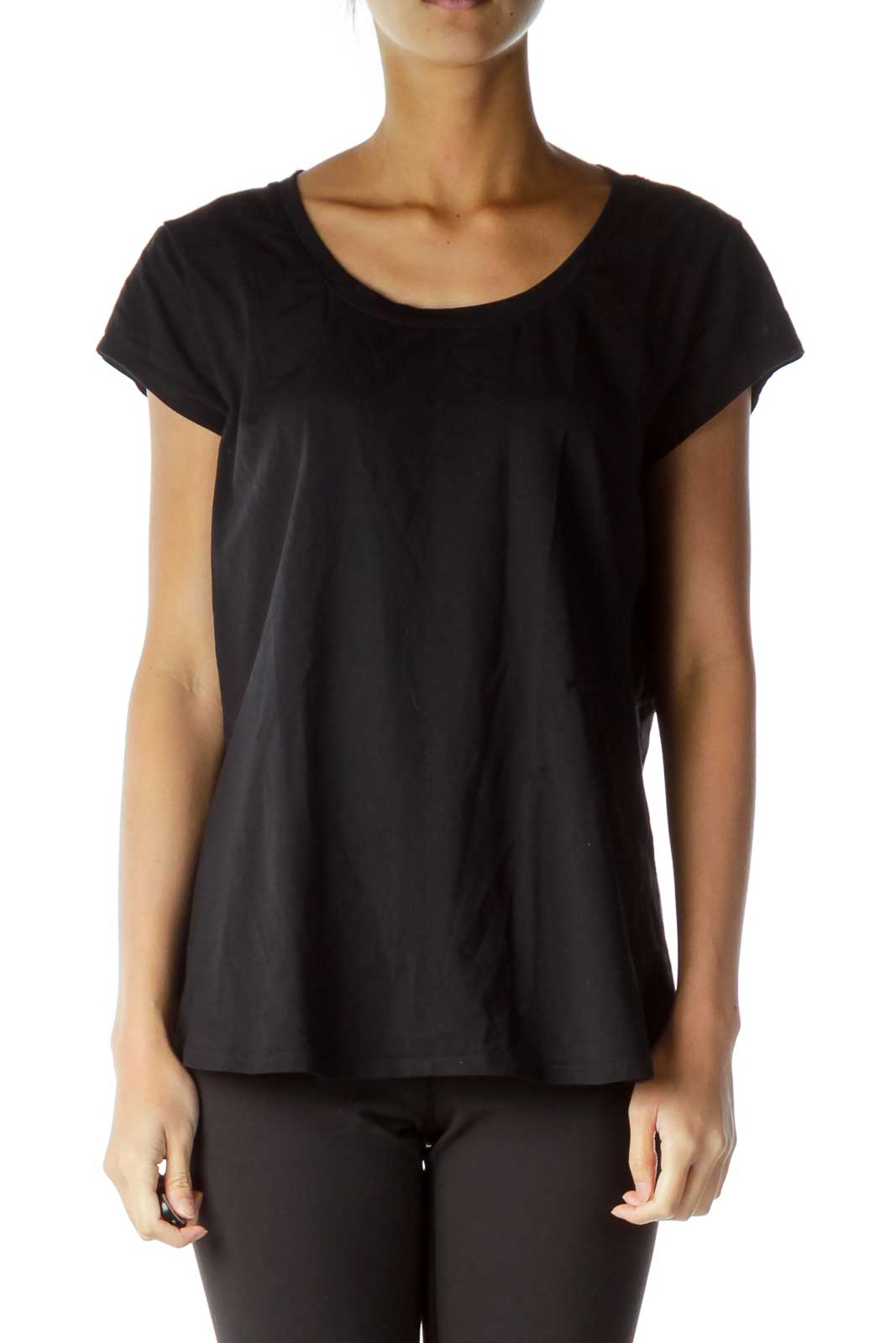 Black See-through Cut Out Sports Top Front