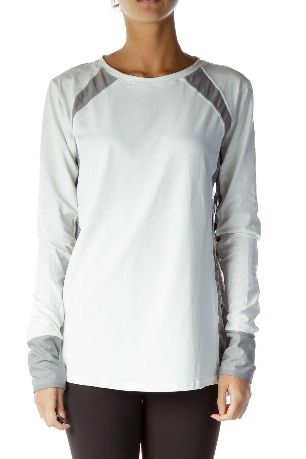 White Gray See-Through Sweatshirt Front