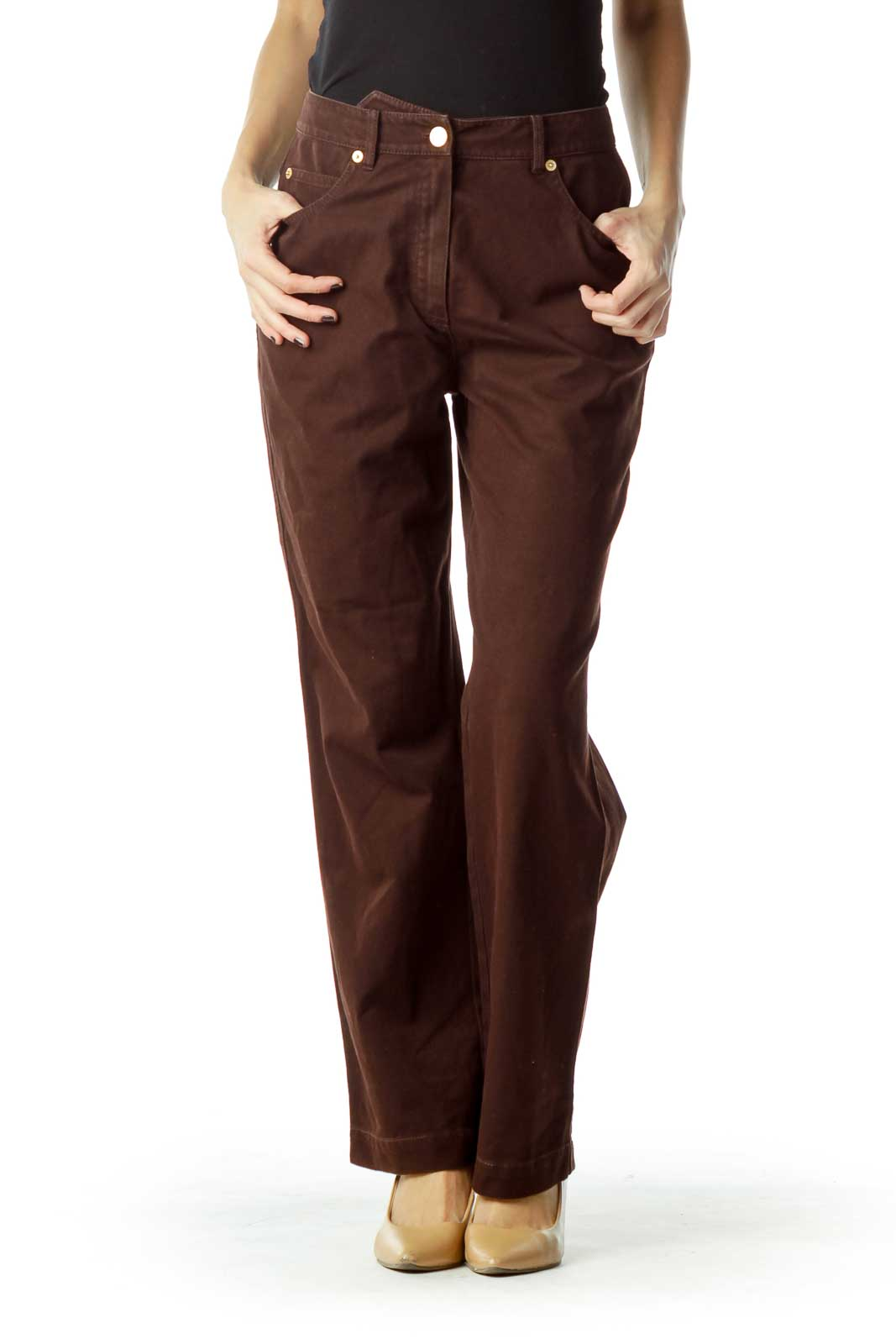 Brown Straight Leg Pants Front